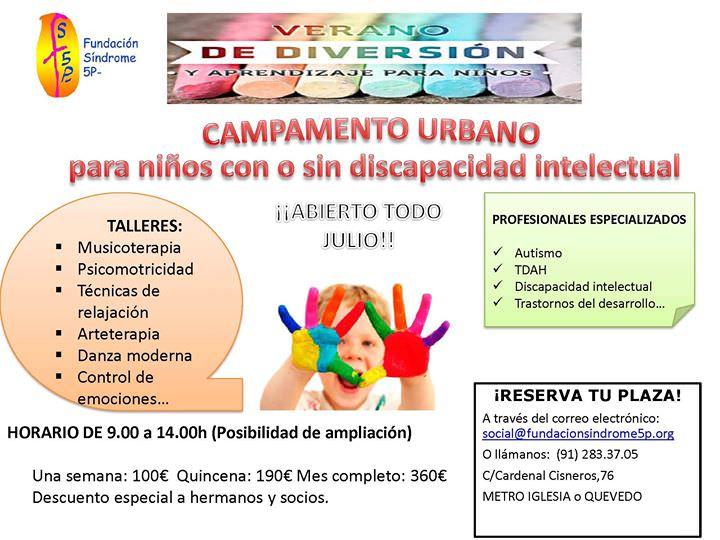 Campamento urbano para niños con o sin discapacidad